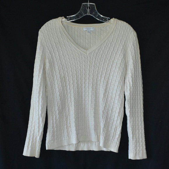 Charter Club Sweaters - Charter Club V-neck, petite cream sweater,size P/L
